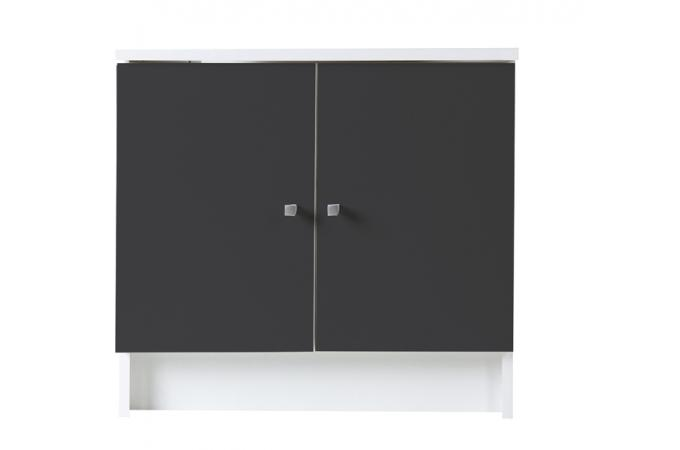 Meuble sous vasque en imitation bois anthracite 2 portes for Imitation meuble design