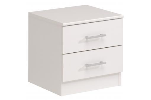 Table de chevet en panneau de particules blanche avec 2 - Table de chevet blanche design ...