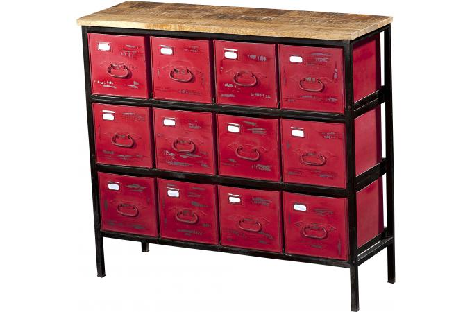 meuble de rangement 12 tiroirs rouge dodeka design sur sofactory. Black Bedroom Furniture Sets. Home Design Ideas