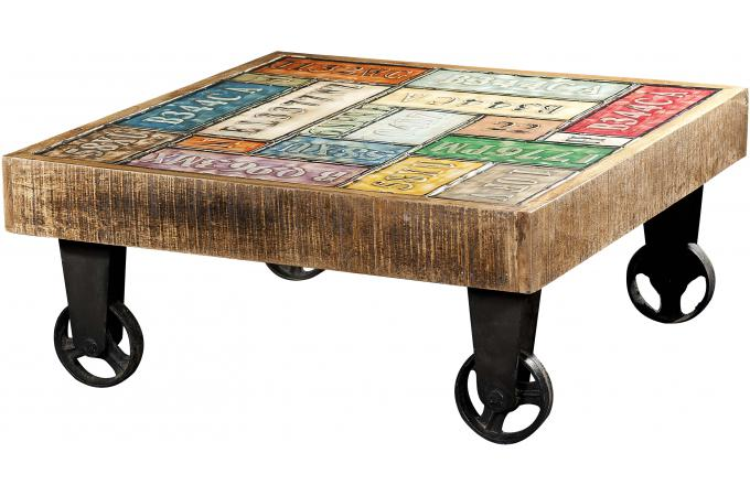 Table basse carr roulettes multicolore whelly design - Table basse multicolore ...