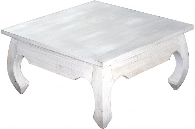 Table basse carr e en bois blanc kabaena design sur sofactory - Table basse carre bois ...