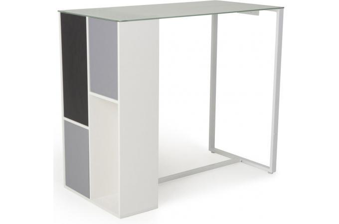 Table de bar en imitation bois blanche yoshi design pas for Table de bar pas cher