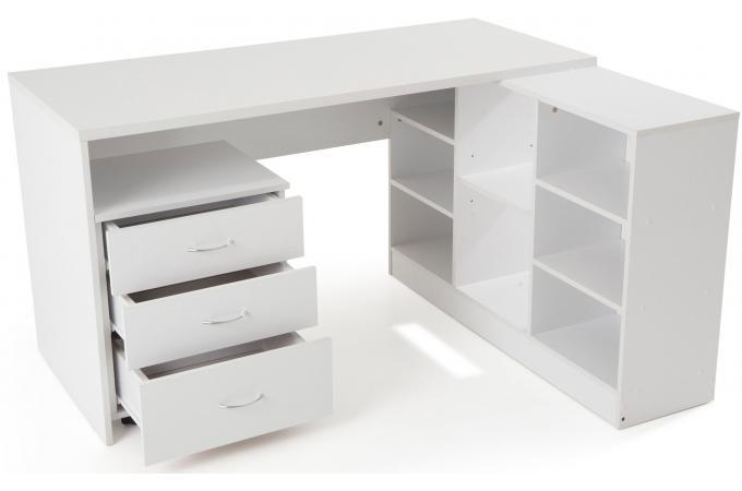 Bureau en imitation bois blanc avec retour trend design sur sofactory