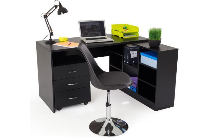 Bureau book noir et imitation chêne bureau noir avec etagere