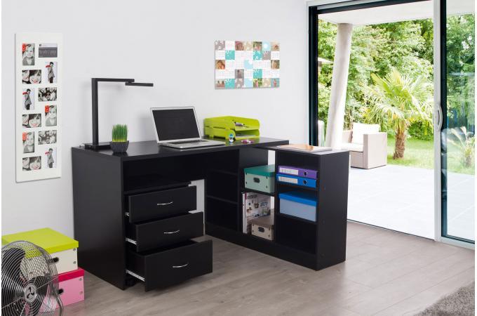 Bureau Noir Avec Retour : Bureau en imitation bois noir avec retour trend design sur sofactory