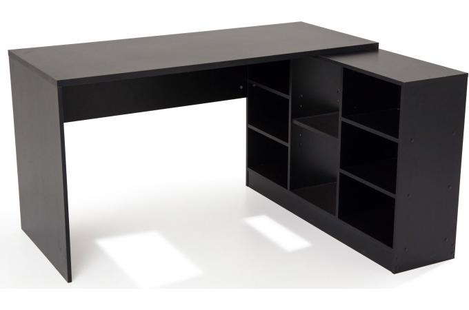 bureau en imitation bois noir avec retour trend design sur. Black Bedroom Furniture Sets. Home Design Ideas