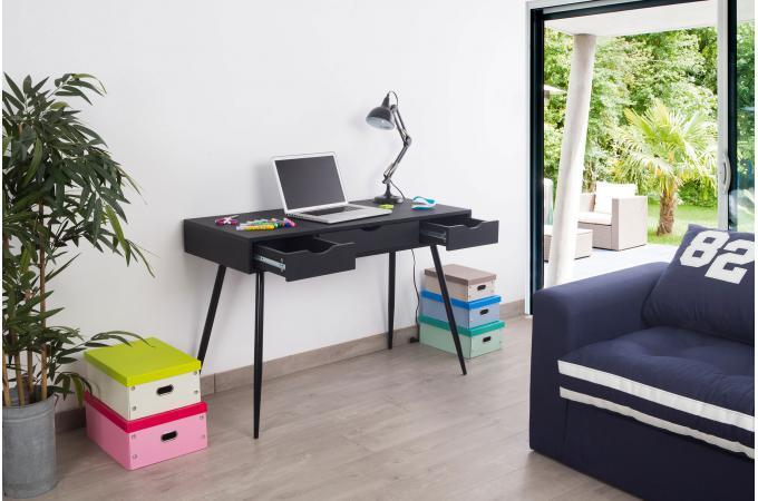 Bureau scandinave en bois noir study design sur sofactory