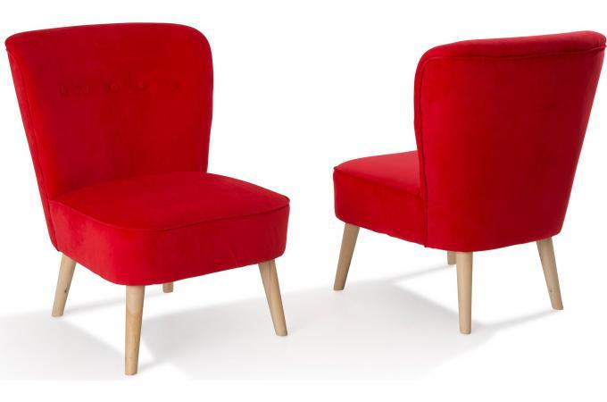 Lot de 2 fauteuils en pin rouges looking design pas cher sur sofactory - Fauteuil rouge pas cher ...
