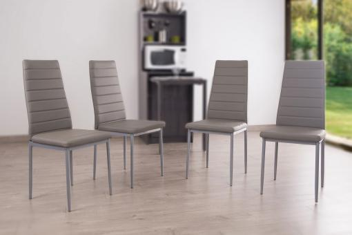 Lot de 4 chaises en fer grises SAMOA Gris So113156-0000