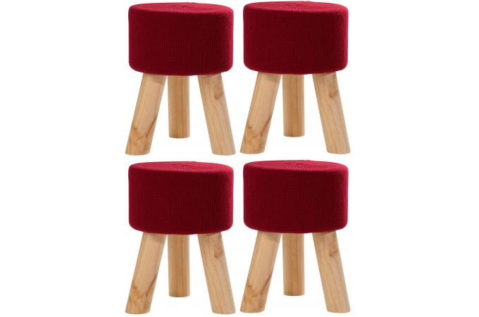 Lot de 4 poufs en pin rouges BUFFALO SoFactory
