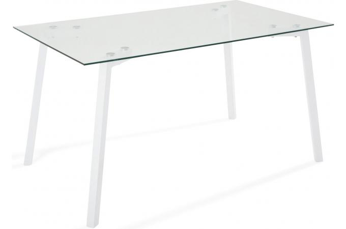 Table à manger en métal blanc et verre GRIMM design sur SoFactory 05ef916fb58e