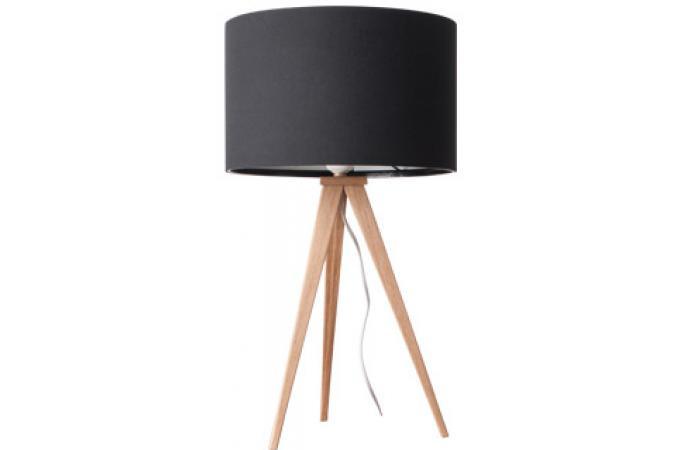 lampe poser tr pied bois naturel noire et bois venerdi. Black Bedroom Furniture Sets. Home Design Ideas
